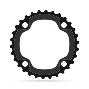Vector realistic bicycle chainring on white background