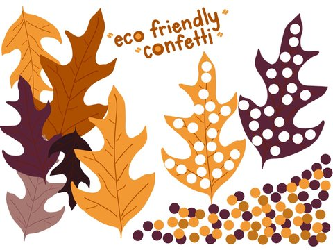 Hand drawing of eco friendly hand made dry fallen leaf confetti for celebrations. Reduce single use plastic. DIY eco-friendly wedding confetti ideas.