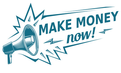 Make money sign with megaphone