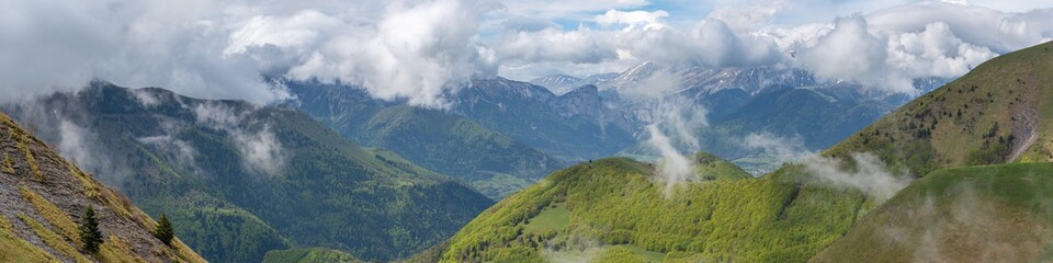 French landscape - Les Ecrins. Panoramic view over the peaks of Les Ecrins nearby Grenoble. Wall mural