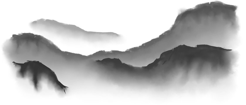 Imitation japan traditional sumi-e painting with mountain landscape.