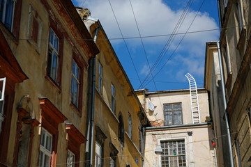 one of the charmig, narrow street in Lviv, Ukraine