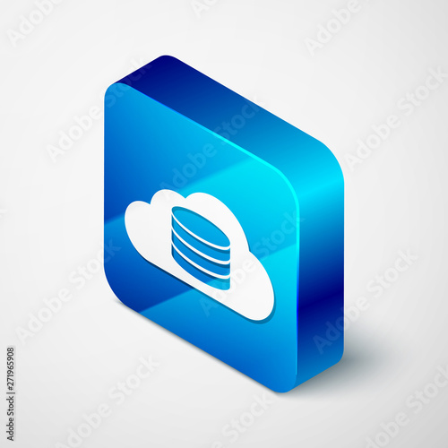 Isometric Cloud database icon isolated on white background