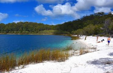 Fraser Island, Australia - Apr 24, 2019. Lake Mackenzie on Fraser Island off the Sunshine Coast of Queensland is a freshwater lake popular with tourists .