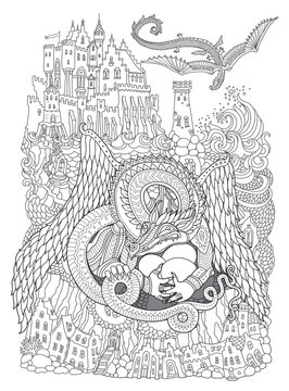 Vector contour thin line illustration. Fairy tale Dragon nest, flying monster, sea island, castle, lighthouse. Black and white hand drawn sketch. Adults coloring book page, tee shirt print, book cover