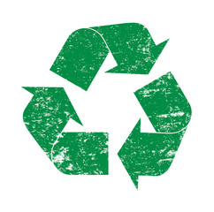 Green grunge recycling logo icon illustration
