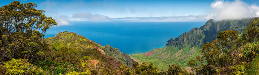 Kalalau Lookout, Kauai, Hawaii. A superb  view into the heart of the Kalalau Valley one of the most photographed and well recognized valleys in all of Hawaii featured in many movies and TV shows.