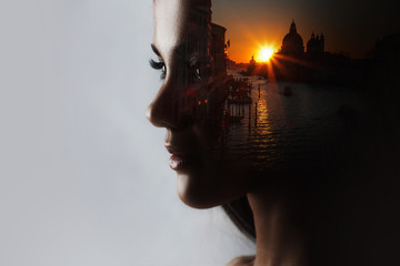 Travel dreams, concept. The profile of the girl and the sunset in a beautiful location