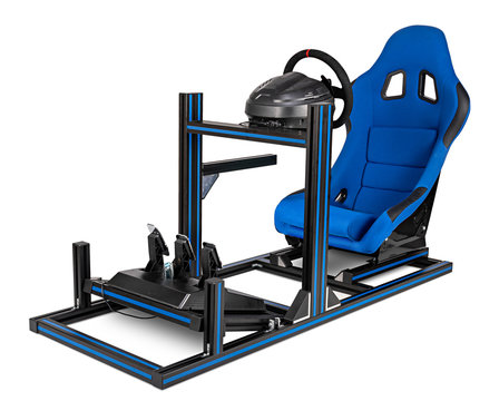DIY simracing aluminum race simulator rig for video game racing. Blue motorsport car bucket play seat steering wheel pedals isolated white background