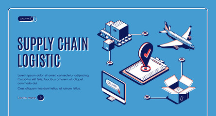 Supply chain logistic isometric landing page, airplane cargo transportation, goods delivery process, export, import over world, global trade network, business 3d vector illustration, line art, banner.