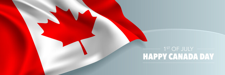 Happy Canada day vector banner, greeting card