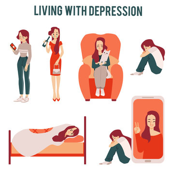 Set of lonely unhappy women suffering from depression or relationships icons.