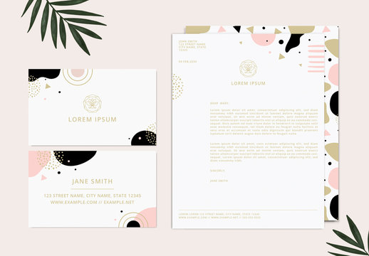 Stationery Collection Layout with Abstract Pink and Gold Graphic Elements