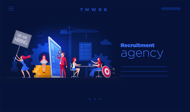 People are working on hiring, human resources and recruitment together