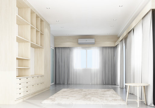 Living area with wooden cabinet built-in. mock up, 3d rendering
