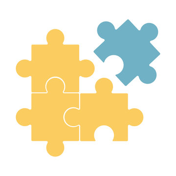 Puzzle vector illustration, three yellow puzzle parts with one blue
