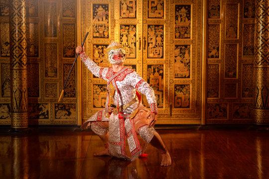 Performer wearing a khon mask, Thailand