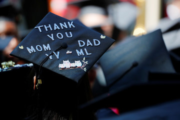 A graduating student's cap is decorated for Commencement Exercises at MIT in Cambridge