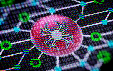 Virus icon. Circuit board and Binary code ( array of bits ) in the screen.