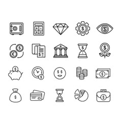 icons set related to Money Wallet Vector