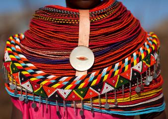 Rendille tribeswoman necklace, Marsabit district, Ngurunit, Kenya