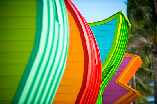 Abstract close-up of colorfully painted details lifeguard towers in South Beach, Miami, Florida, USA