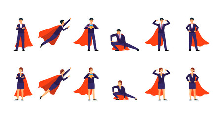 Superhero businessman in the cape set of poses flat vector illustration isolated.
