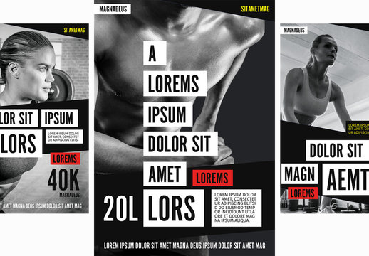 Gym Flyer Layouts with Red Accents and Photo Placeholders