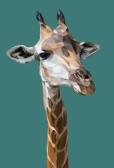Illustration polygonal vector 3d art of giraffe.