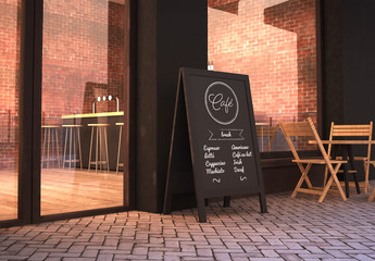 Blackboard Stand on Cafe Facade Mockup