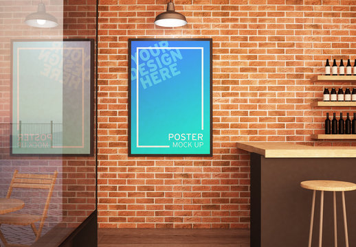 Poster with Frame Mockup Hanging on Wall of a Bar