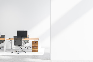 Empty office interior with mock up wall