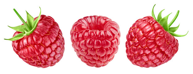 Ripe raspberries collection isolated on white background