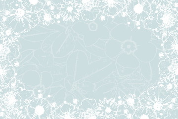 beautiful spring flower texture frame in pale blue background