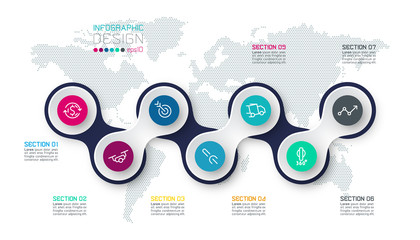 Circle linked with business icon infographics on world map background. Fototapete