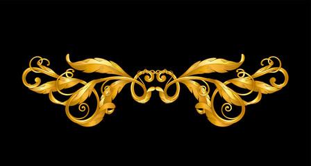 Obraz gold baroque ornament on black - fototapety do salonu