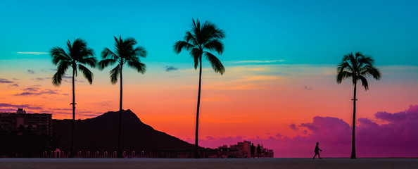 Tropical Paradie Art Sunrise in Waikiki Hawaii Wall mural