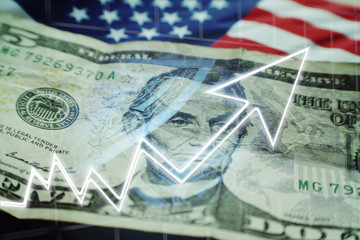 Business & Finance Concept With Five Dollar Bill, American Flag & Stock Graph Showing Bull Market High Quality