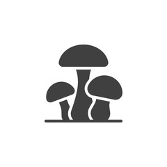 Obraz Three mushrooms vector icon. filled flat sign for mobile concept and web design. Mushroom plant glyph icon. Symbol, logo illustration. Vector graphics - fototapety do salonu