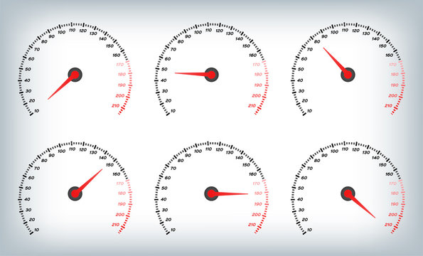 Speedometer for car . Fuel Gauge and Tachometer / meter vector