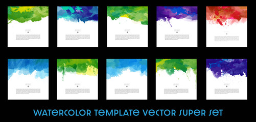 Set of Bright colorful abstract vector watercolor background