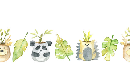 Watercolor border with cute pots. Cute illustrations of animals. Perfect for office, design and decor of children's rooms, products for children.