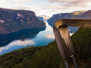 Aerial view. Fjord landscape at Stegastein viewpoint Norway