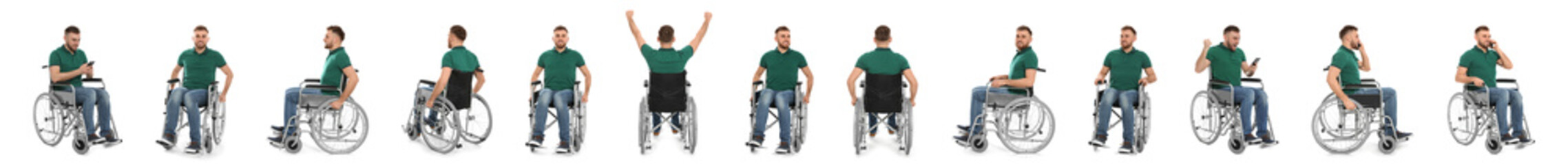 Set of young man in wheelchair on white background. Banner design