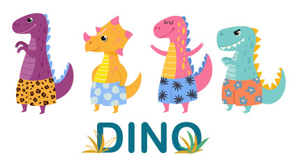 Funny collection of cartoon dinosaurs in beach shorts. Summer vector illustrations.