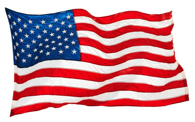 american flag isolated on white background Fototapete