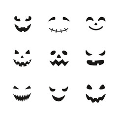 Collection of Halloween pumpkins carved faces silhouettes. Black and white images. Template with variety of eyes, mouths and noses for cut out jack o lantern.