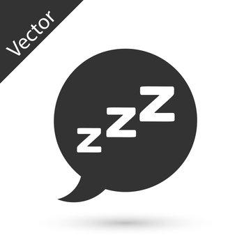 Grey Speech bubble with snoring icon isolated on white background. Concept of sleeping, insomnia, alarm clock app, deep sleep, awakening.  Vector Illustration