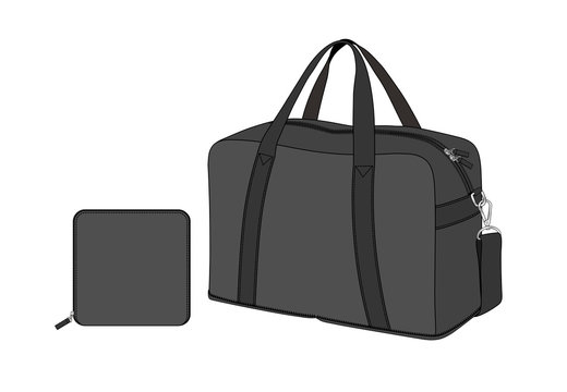 black duffle bag with removable shoulder strap, sports gym bag, foldable weekend bag, spare bag, vector illustration sketch template isolated on white background