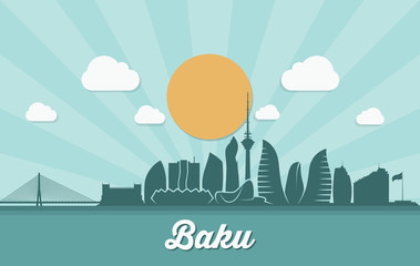Fototapete - Baku skyline - Azerbaijan - vector illustration - Vector